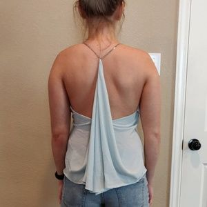 BACKLESS PARTY TOP TANK BLUE CHAIN OPEN BACK FLOWY